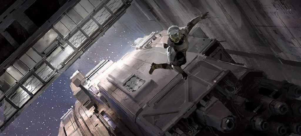 A cropped cover illustration from Exit Strategy showing a person in a space suit floating amongst buildings.