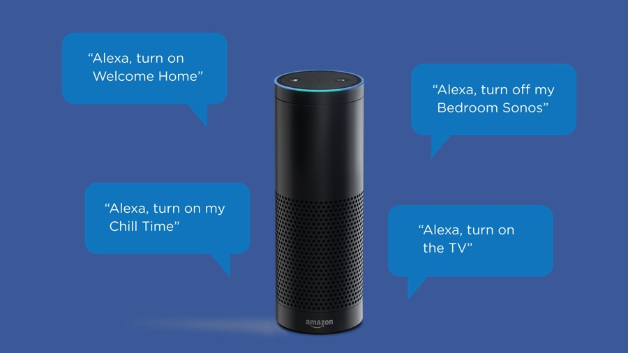 An Amazon Alexa unit surrounded by examples of requests you can make of her.